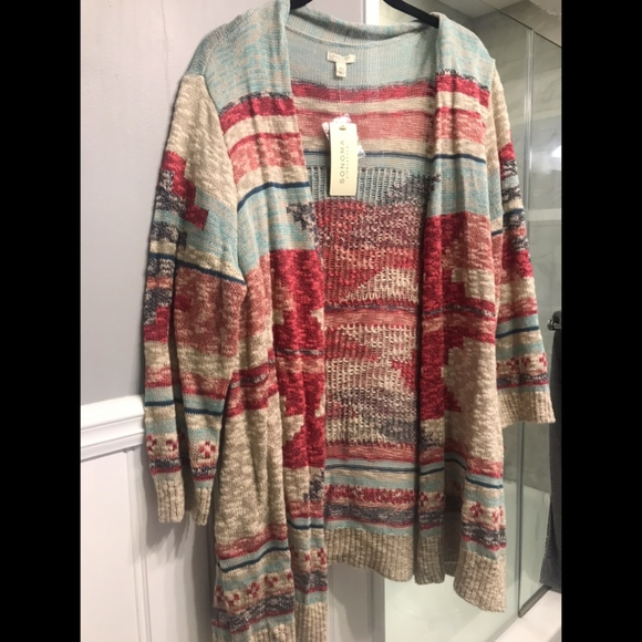 Sonoma Aztec Print Cardigan Sweater XL Boutique
